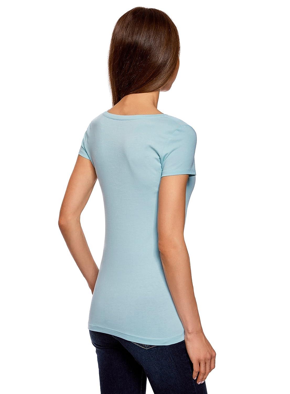 oodji Collection Womens Basic V-Neck T-Shirt