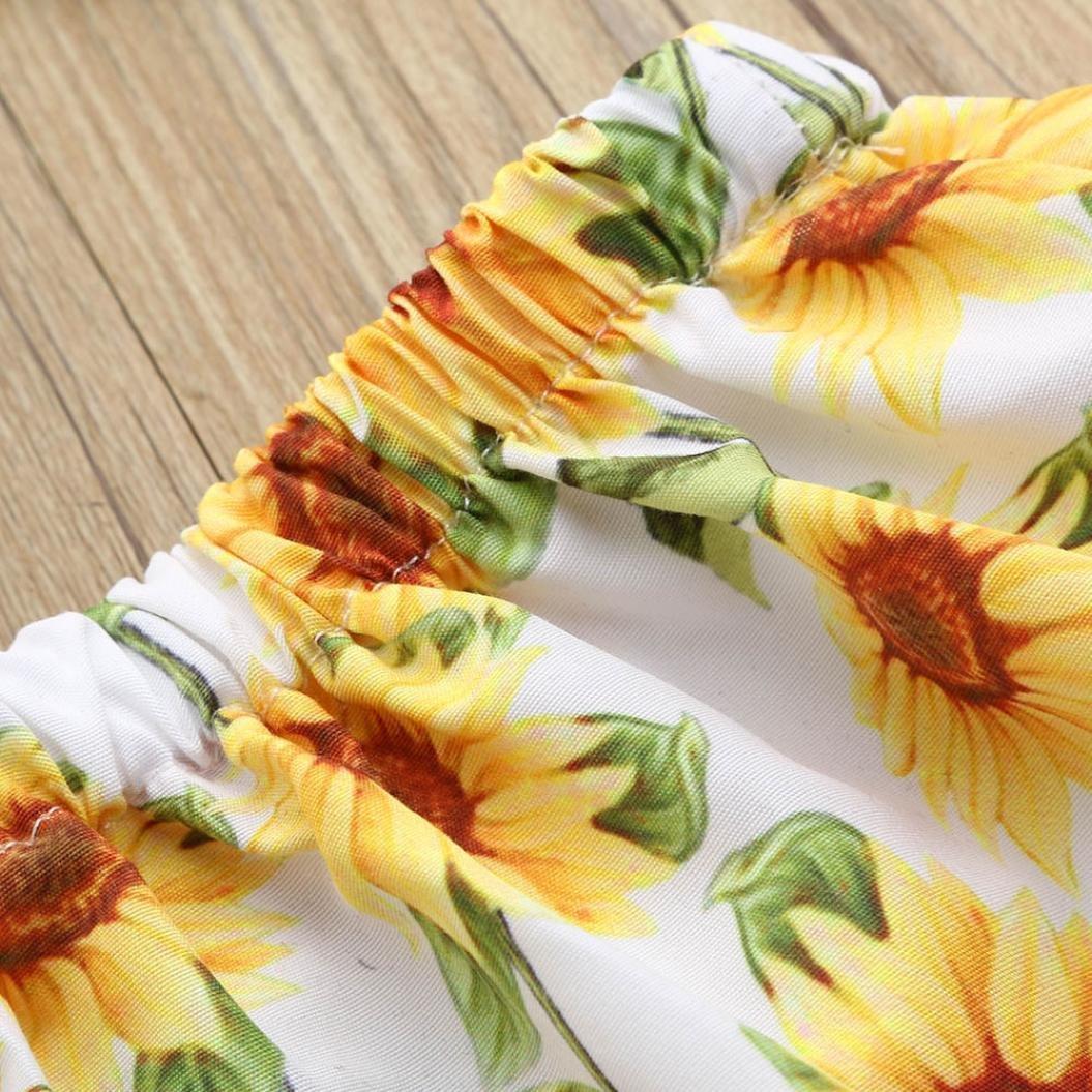 Efaster Baby Girls Off Shoulder Tops+Sunflower Tassel Ball Shorts+Headband Set
