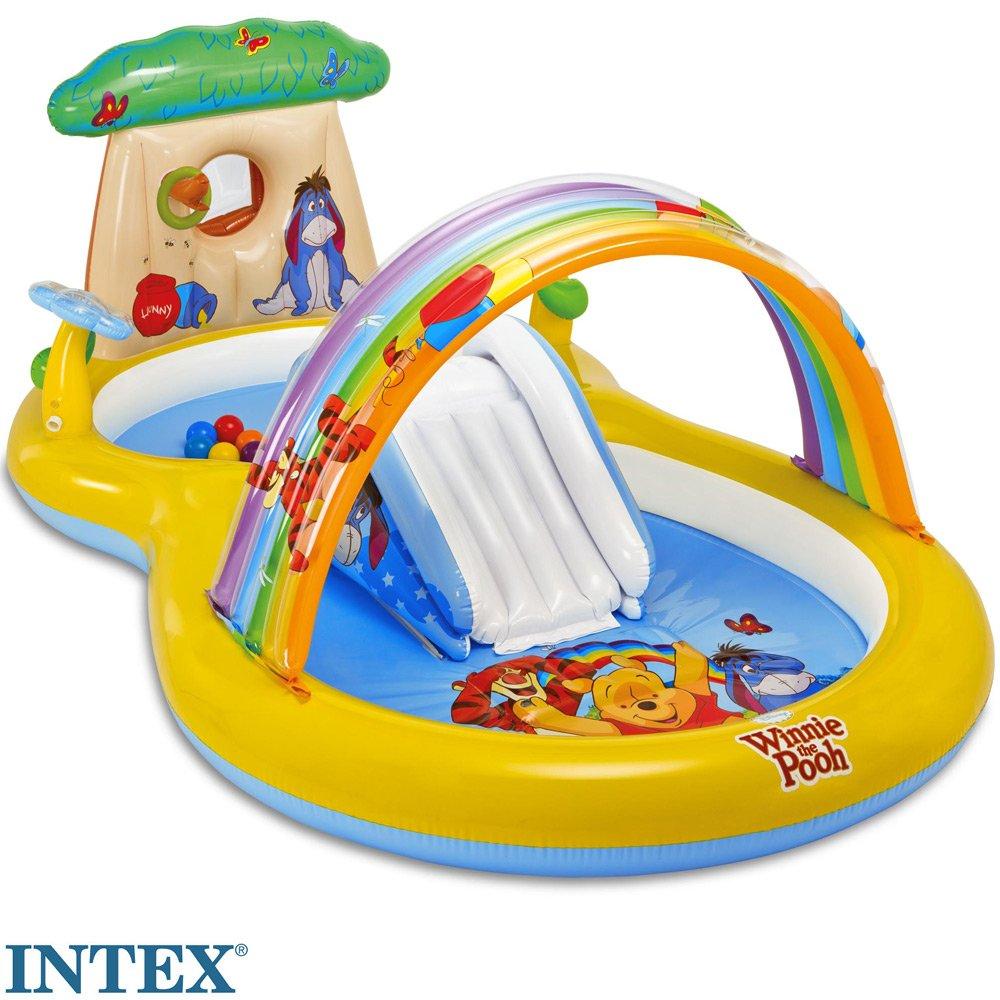 Winnie Pooh Planschbecken mit Rutsche und Blumen-Wassersprüher, 282x173 cm: Puuh Spielcenter Playcenter Kinder Pool