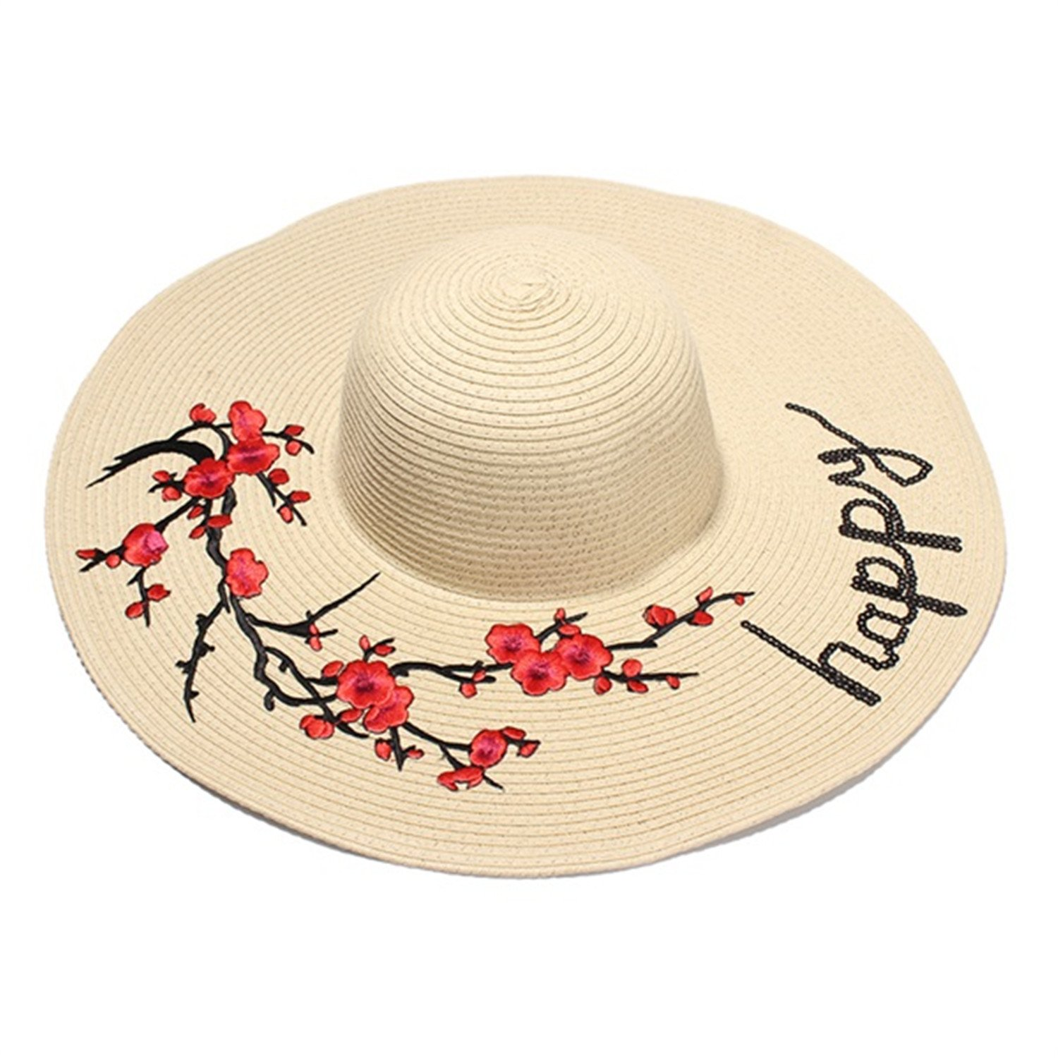 Amazon.com  Donna Pierce Summer Hats For Women Flower Patch Sequin Letter  Embroidery Sun Hat Ladies Large Brim Beach Straw Caps Chapeu Feminino  Brown  ... f1883c1e18c6
