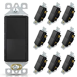 ELEGRP 3 Way Decorative Light Switch, 15Amp, 120/277 Volt, AC Decora Rocker Paddle Wall Switch Replacement, Self-Grounding, Residential and Commercial Grade, UL Listed (10 Pack, Glossy Black)