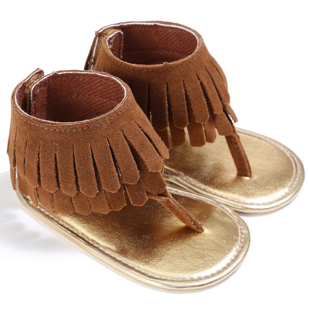 Brown, 0~6 Month WARMSHOP Multi-Color Toddler Girls T-Strap Soft Sole With Tassels Anti-slip Crib Shoes