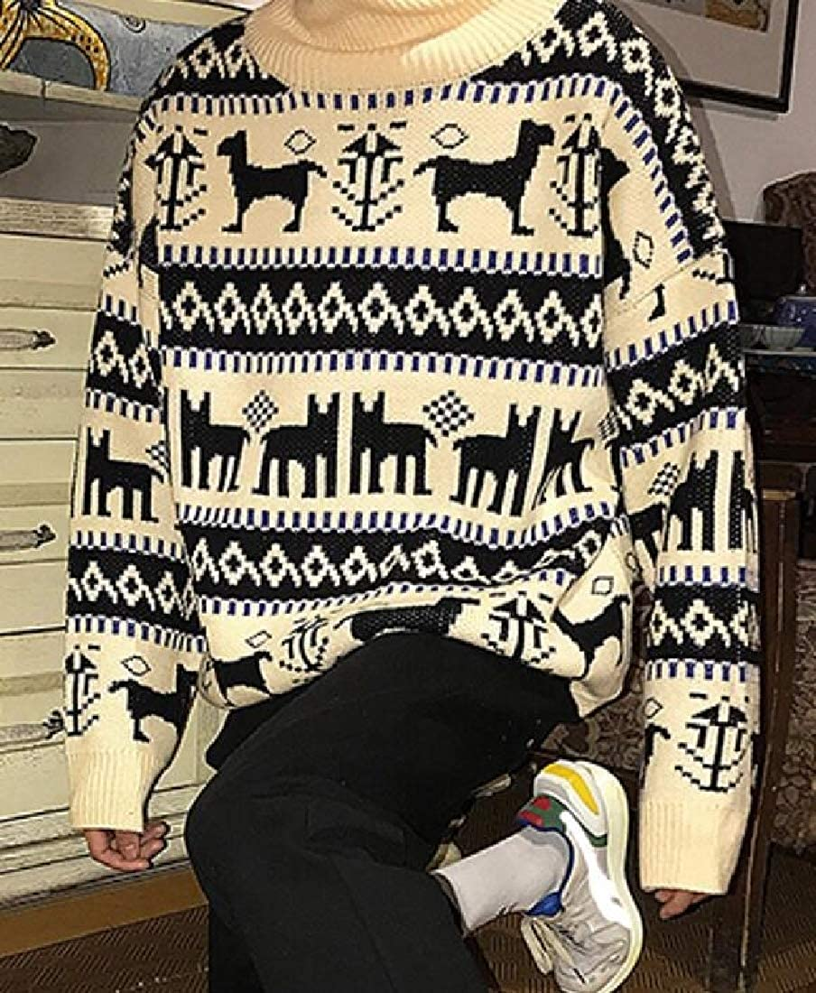 Britainlotus Men Sweater Autumn Turtleneck Pullover Knitted Elk Print Christmas Outerwear