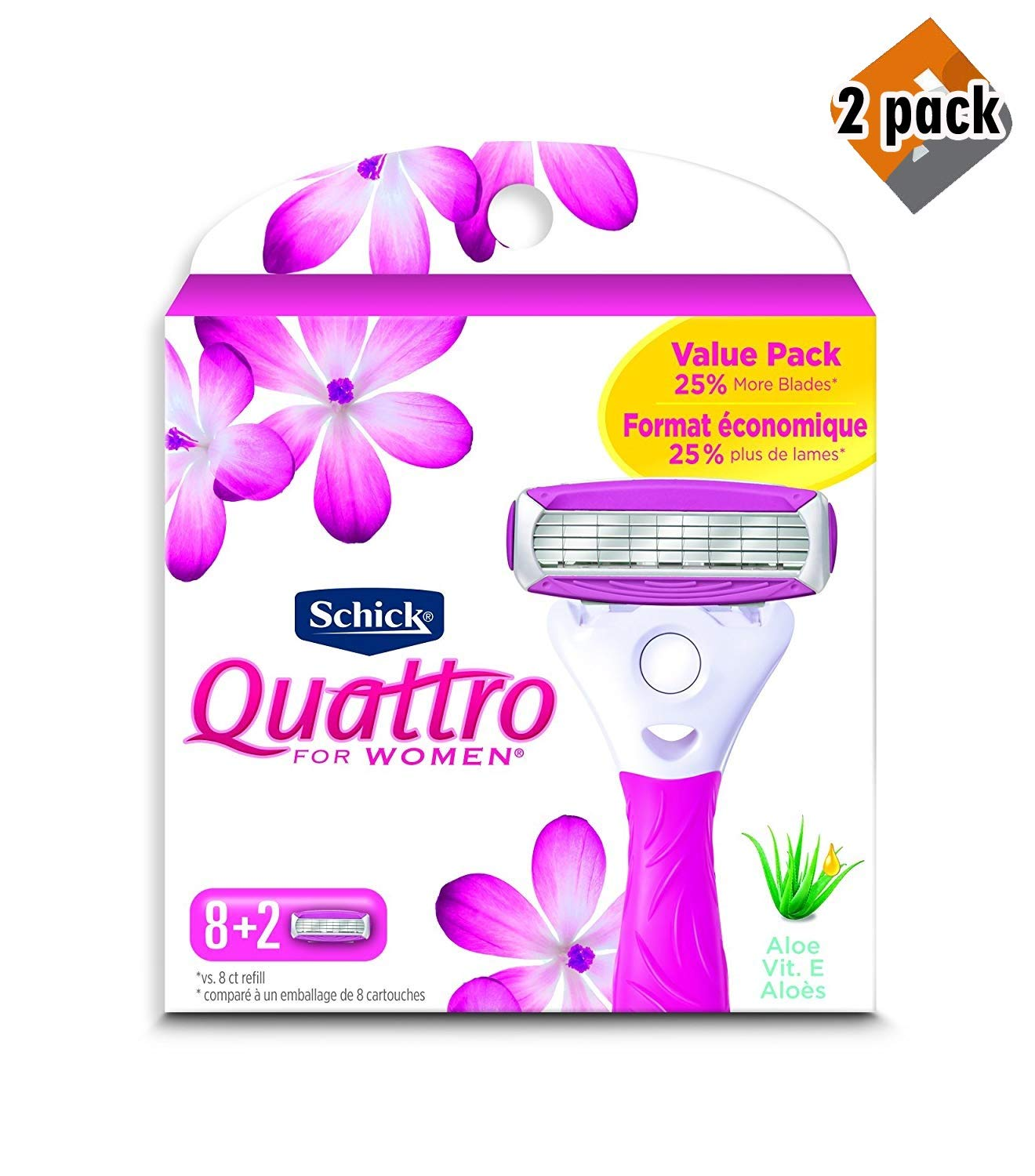 Schick Quattro Ultra Smooth Razor Blade Refills for Women Value Pack, 10 Count (2 Pack)
