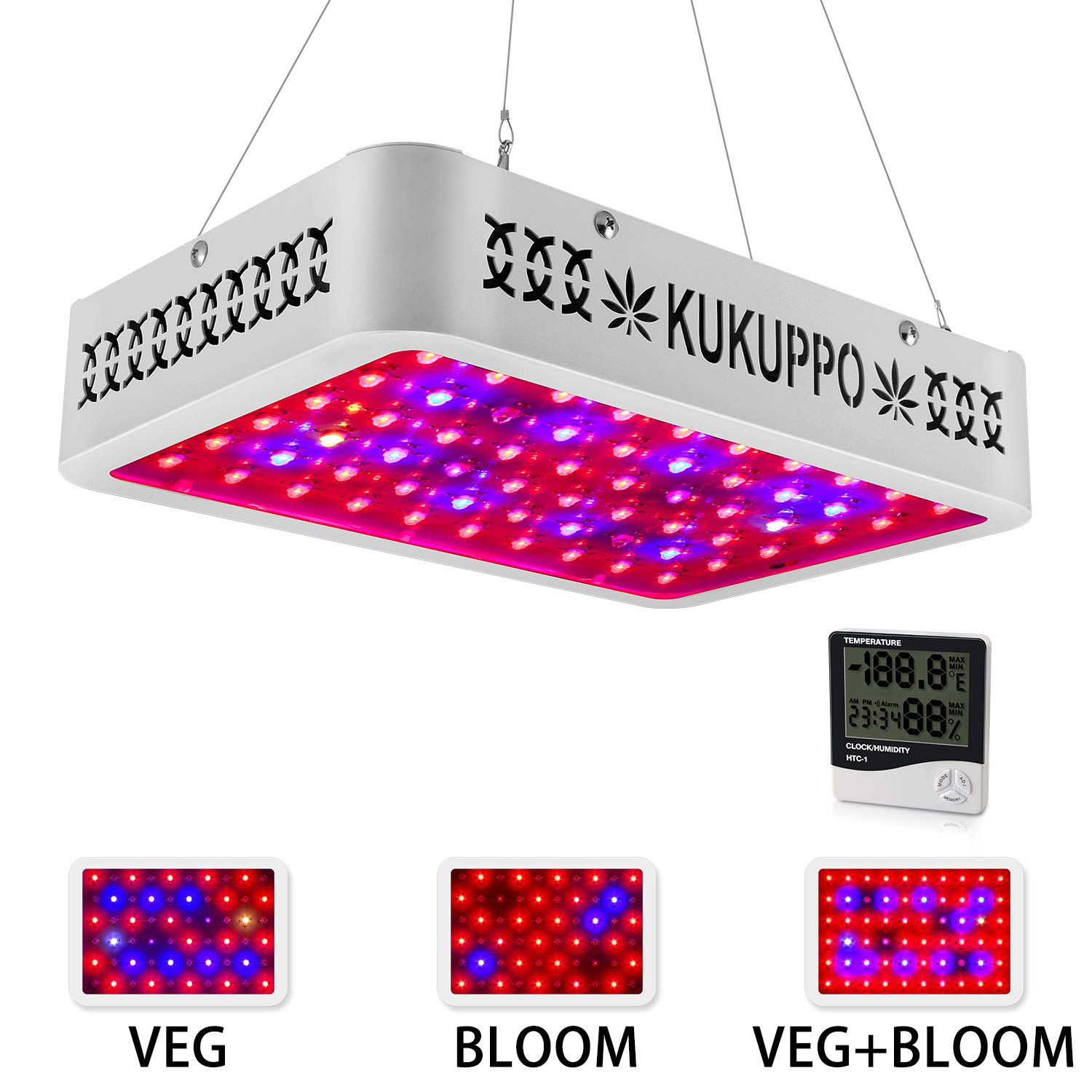 KUKUPPO 600W LED Grow Light Full Spectrum IR UV for Indoor Plants Horticulture Greenhouse Hydroponic Veg and Bloom, Has Daisy Chain Function Growing Light Fixtures by KUKUPPO