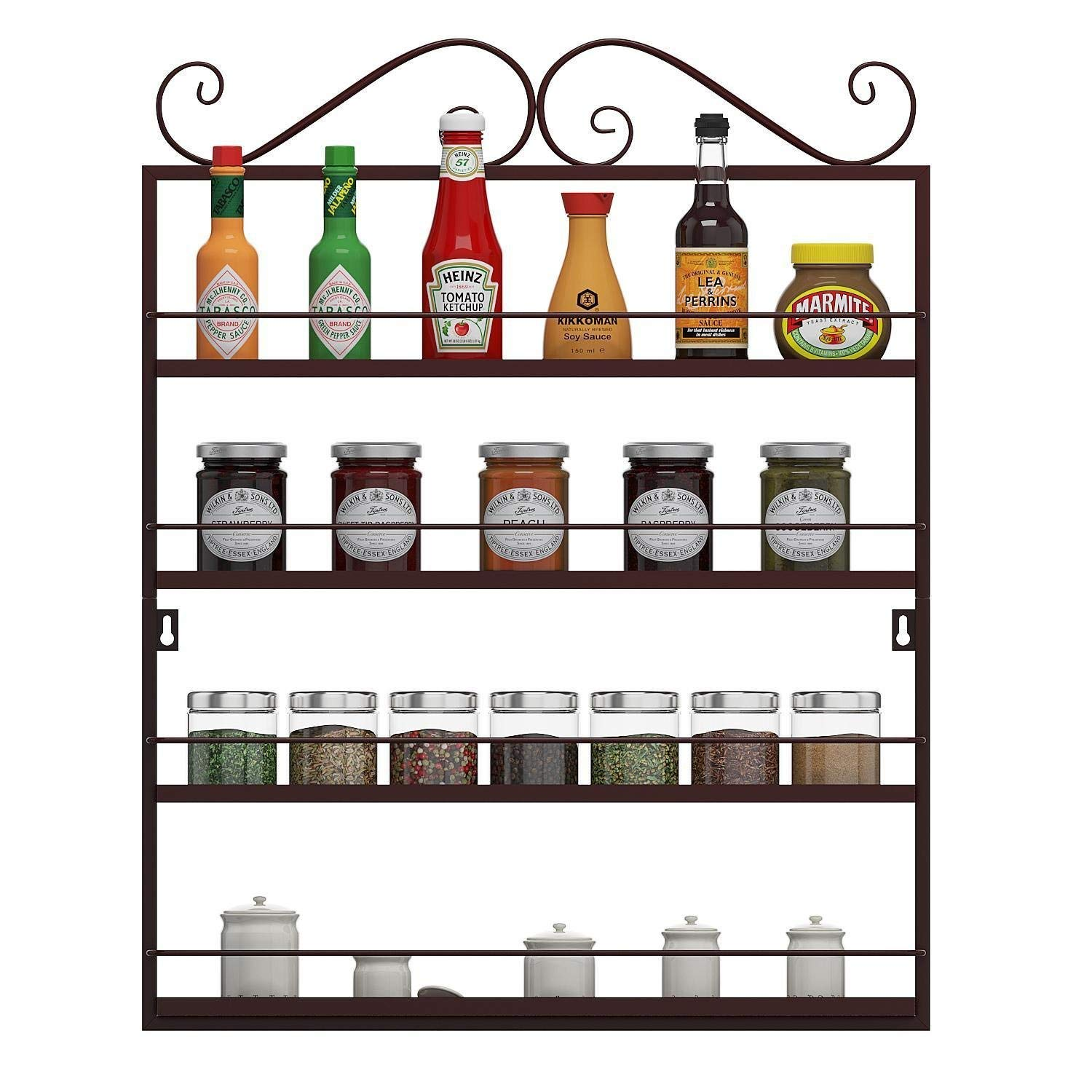 Utheing Durable Multifunctional Metal Kitchen Condiments Storage Shelves, Wall Mounted Storage Rack, Great for Storing Spices, Household Items (bronze)