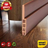 Smart Saver Under Seal for Exterior/Interior, Sweep Strip Draft Blocker, Soundproof Weather Stripping (90 cm, Brown)
