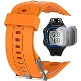 Garmin Forerunner 10 15 Band (Grand 2.5CM Screen) Avec écran protecteur, TUSITA Replacement Soft Silicone Bracelet Sport Strap WristBand Accessoire pour Garmin Watch
