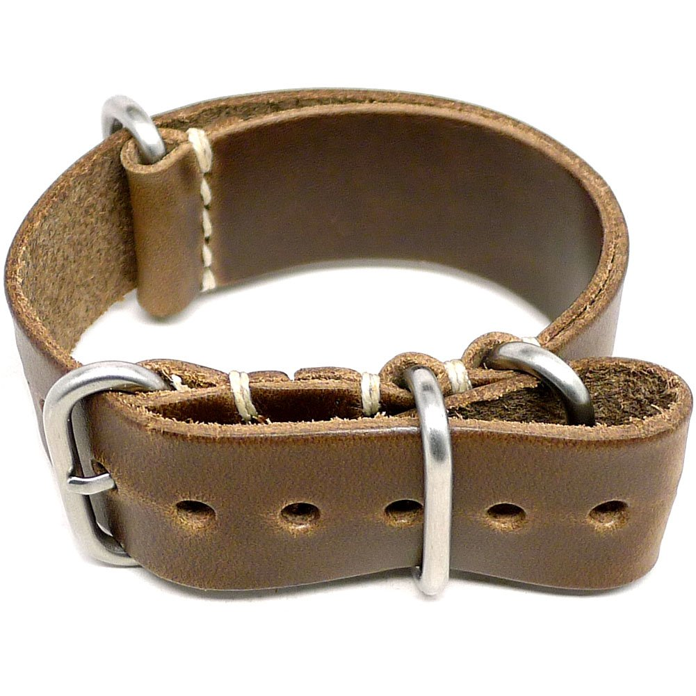 DaLuca Military Watch Strap - Natural Chromexcel (Matte Buckle) : 18mm