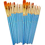 BOSOBO Paint Brushes Set, 2 Pack 20 Pcs Round Pointed Tip Paintbrushes Nylon Hair Artist Acrylic Paint Brushes for…