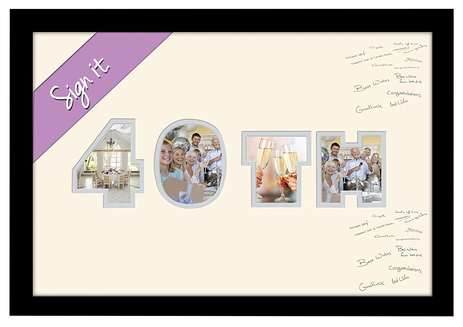 40th Birthday Ruby Wedding Anniversary Personalised Guest Book Signing Signature Autograph Photo Frame to Sign Gift Present (Black Finish Frame) Photos in a Word