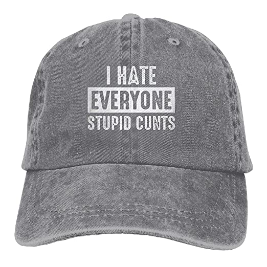 498dad1519d gongzhiqing I Hate Everyone Stupid Cunts Adult Adjustable Printing Cowboy Baseball  Hat Ash