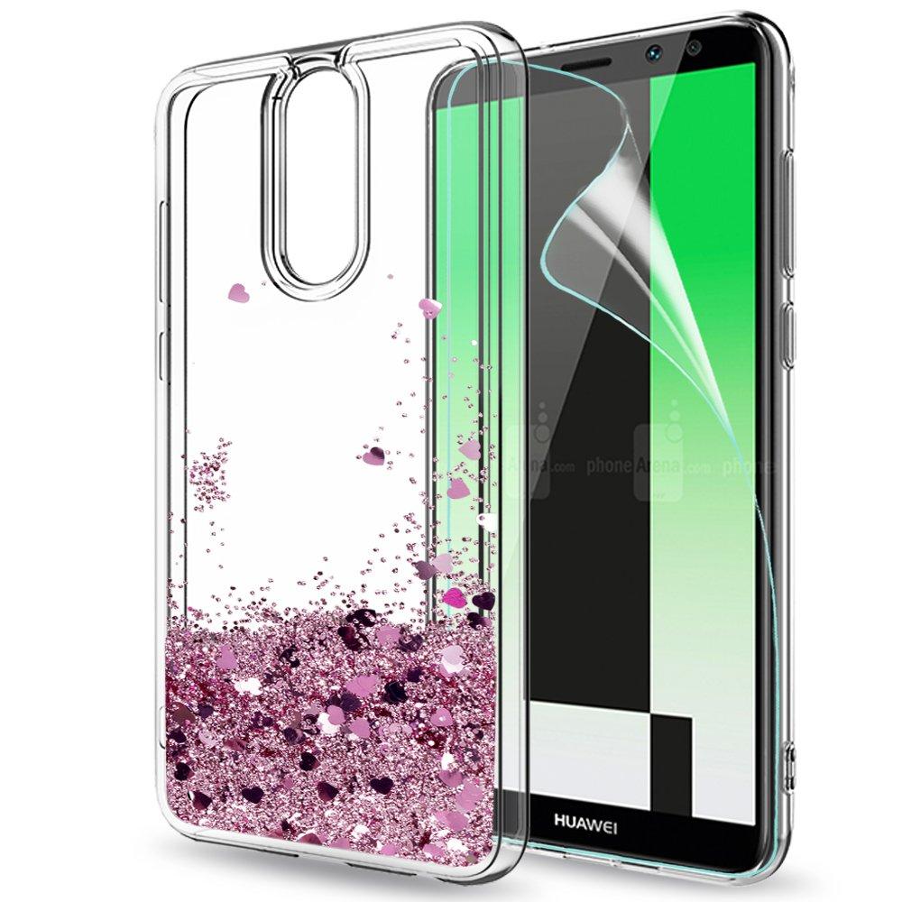 Funda Huawei Mate Lite Carcasa con HD Protectores de Pantalla LeYi Purpurina