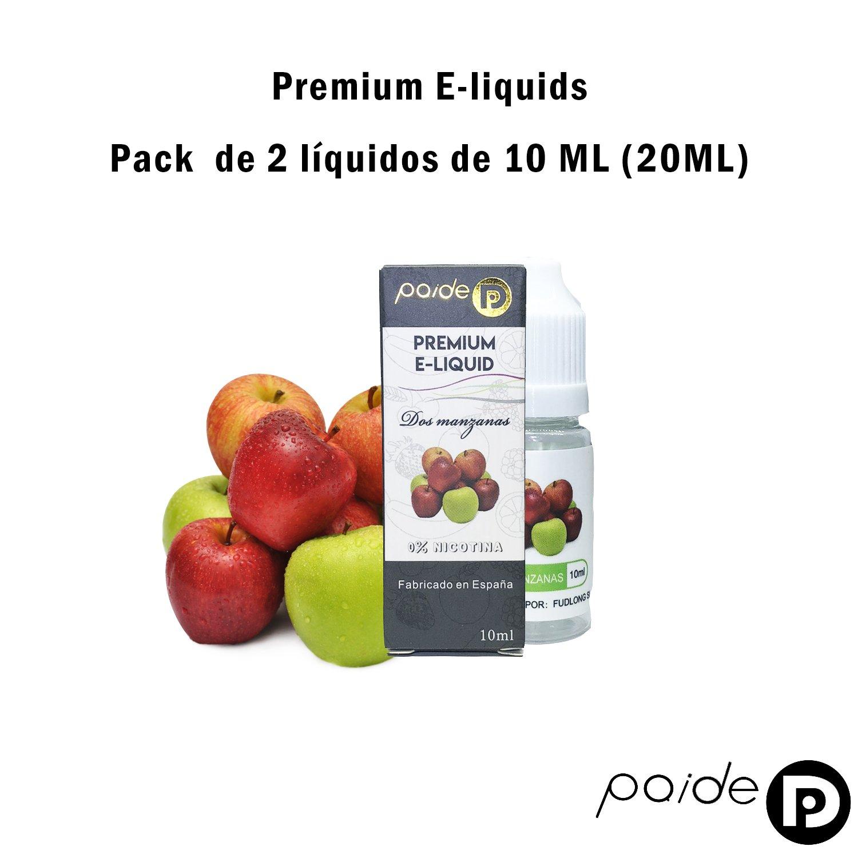 2 x 10ML Paide Premium E-Liquid - Sin nicotina - Líquido para cigarrillo electrónico - 50VG 50PG (Dos manzanas): Amazon.es: Salud y cuidado personal