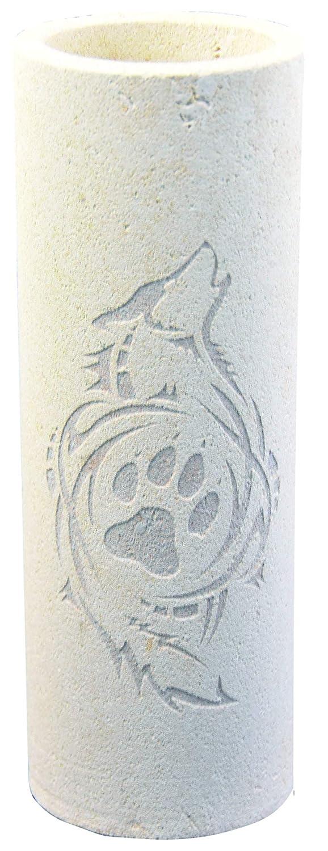 Vase aus Sandstein, Motiv Wolf