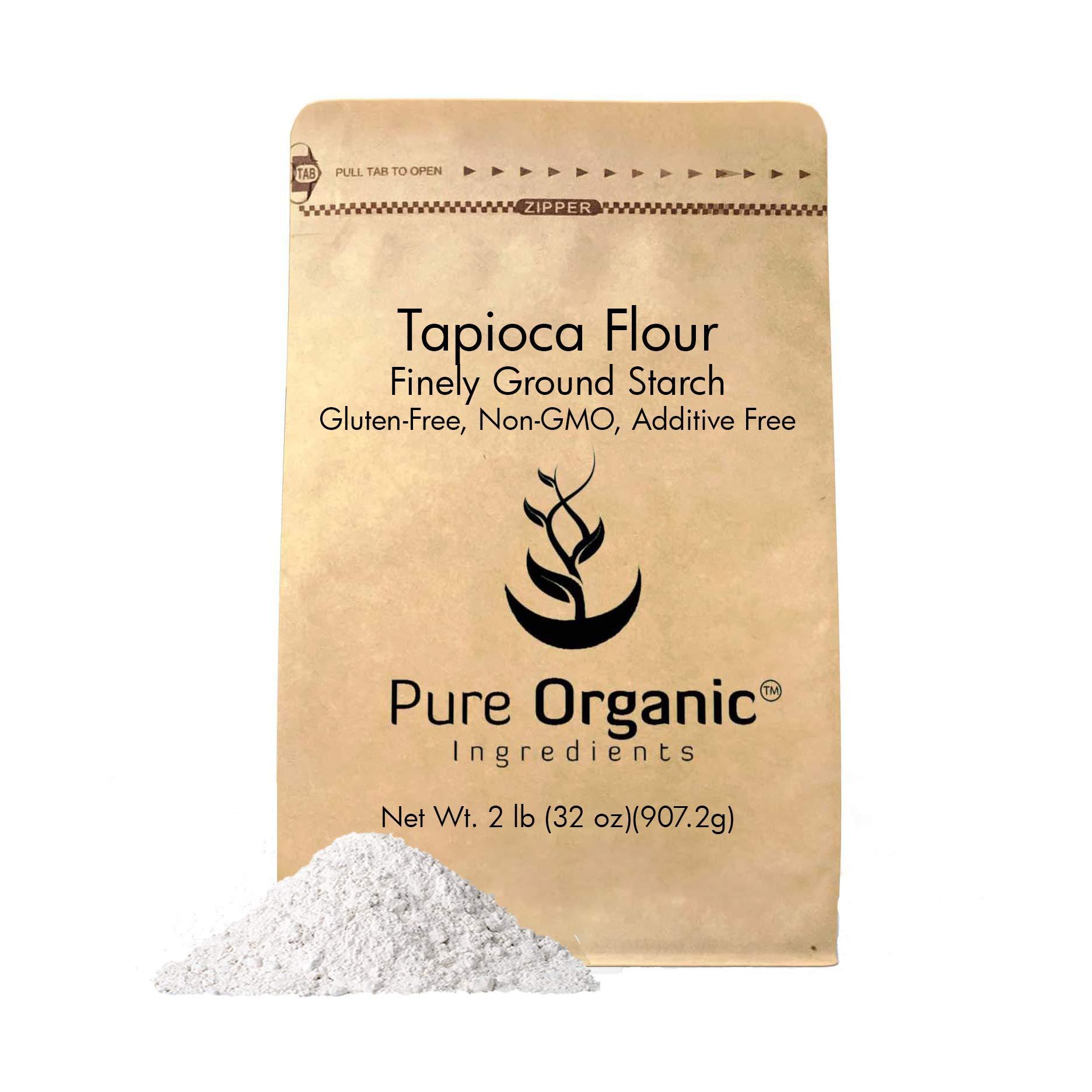 Pure Organic Ingredients Tapioca Flour, 2 lb. (32 oz.), Resealable Eco-Friendly Packaging, Also Called Tapioca Starch, Fine White Powder, Gluten-Free, Non-GMO