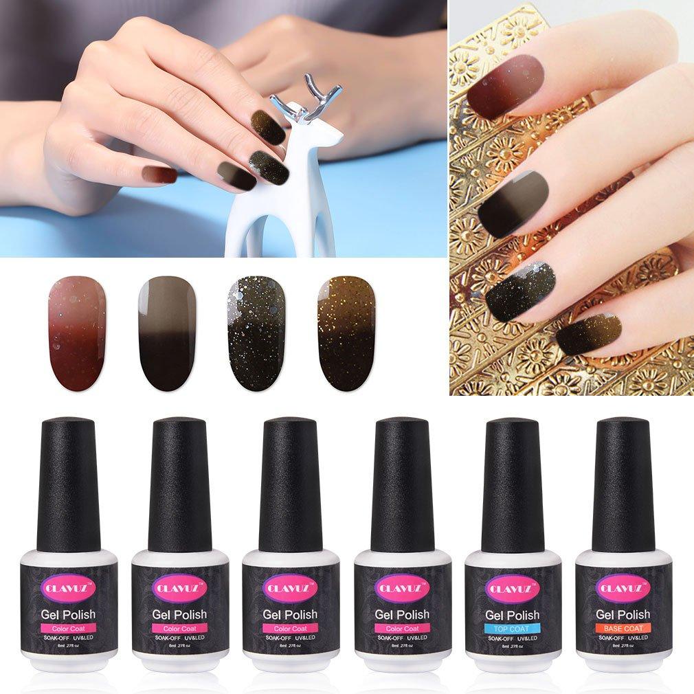 Amazon.com : CLAVUZ Gel Nail Polish Set Soak Off Color Changing Nail ...