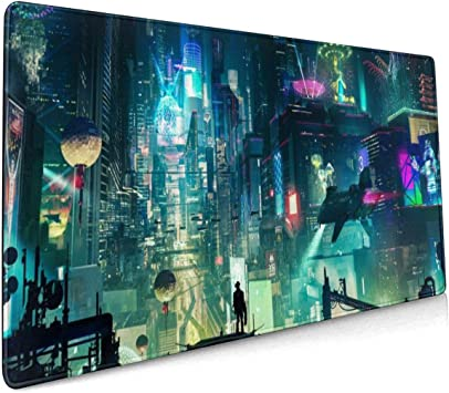 type4 35.415.7Inch, Green city005 Non-Slip Rubber Base Portable Keyboard /& Mouse Mat with Stitched Edges Imegny Extended Gaming Mouse Pad