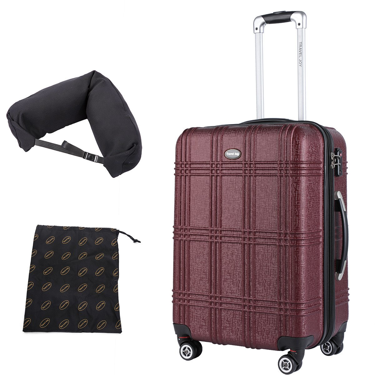 Expandable Carry On Luggage Lightweight Spinner Carry Ons TSA Hardside Luggage Suitcase, 20 inches (BURGUNDY) by Travel Joy (Image #1)
