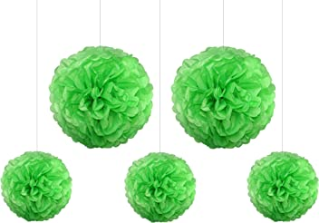 EinsSein 5er Mix Pom Poms 3X Medium (25cm) 2X Large (35cm) apfelgrün Hochzeit Wedding Pompons Dekokugel