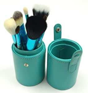 12pcs Makeup Brush Set Cosmetic Tool Kit with PU Faux Leather Holder Storage Case Green