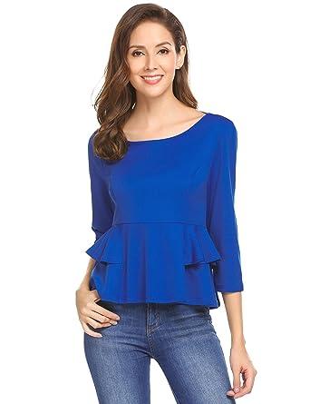 7b0423e47c44 Imposes Damen Shirt Langarm Elegant Slim Fit Oberteil Pullover Top mit Rüschen  Schwarz Blau Weinrot  Amazon.de  Bekleidung