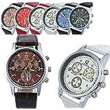Geneva Men's Leather Quartz watch 6 Pcs Fiiliip(Mixed Color)