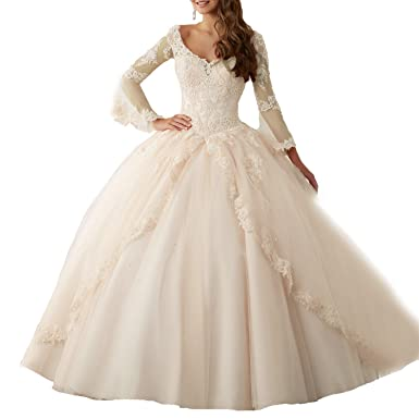 2e2588100a8 Eldecey Women s V-Neck Lace Applique Sweet 16 Long Sleeves Pageant Ball Gown  Tulle Prom