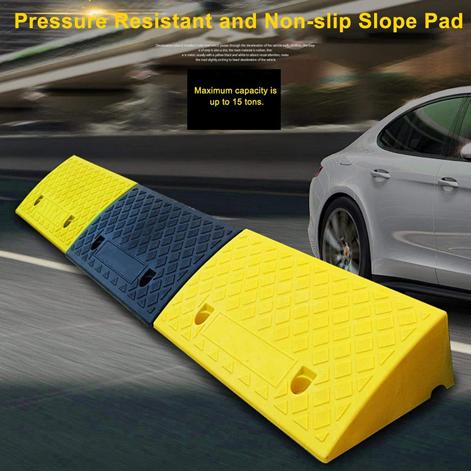 Plastic Curb Ramps Portable Lightweight,Heavy Duty Plastic Threshold Ramp Kit Set Loading Ramp for Car Bike Motorcycle Wheelchair