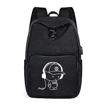 JYMDH Casual Middle School Bag Oxford Tela Mochila Al Aire Libre Mochila para Computadora De Los Hombres Gran Capacidad Mochila Ocio,Black: Amazon.es: ...