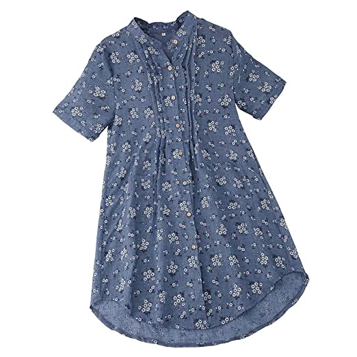 Womens Boho Blouse Plus Size, Sharemen Casual Loose Short Sleeve Linen Print Ruched Tops M-5XL (Sky Blue, 2XL) at Amazon Womens Clothing store: