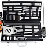ROMANTICIST 27pc BBQ Accessories Set with Thermometer - The Very Best Grill Gift on Birthday Wedding - Heavy Duty Stainless Steel Grill Set in Case for Outdoor Cooking Camping Grilling Smoking
