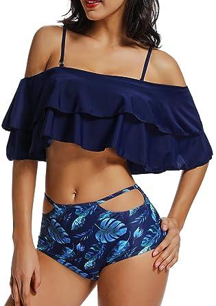 Bikini Mujer Push-up con Acolchado Bra Trajes de ba/ño Dos Piezas Color Vario con Talla Grande