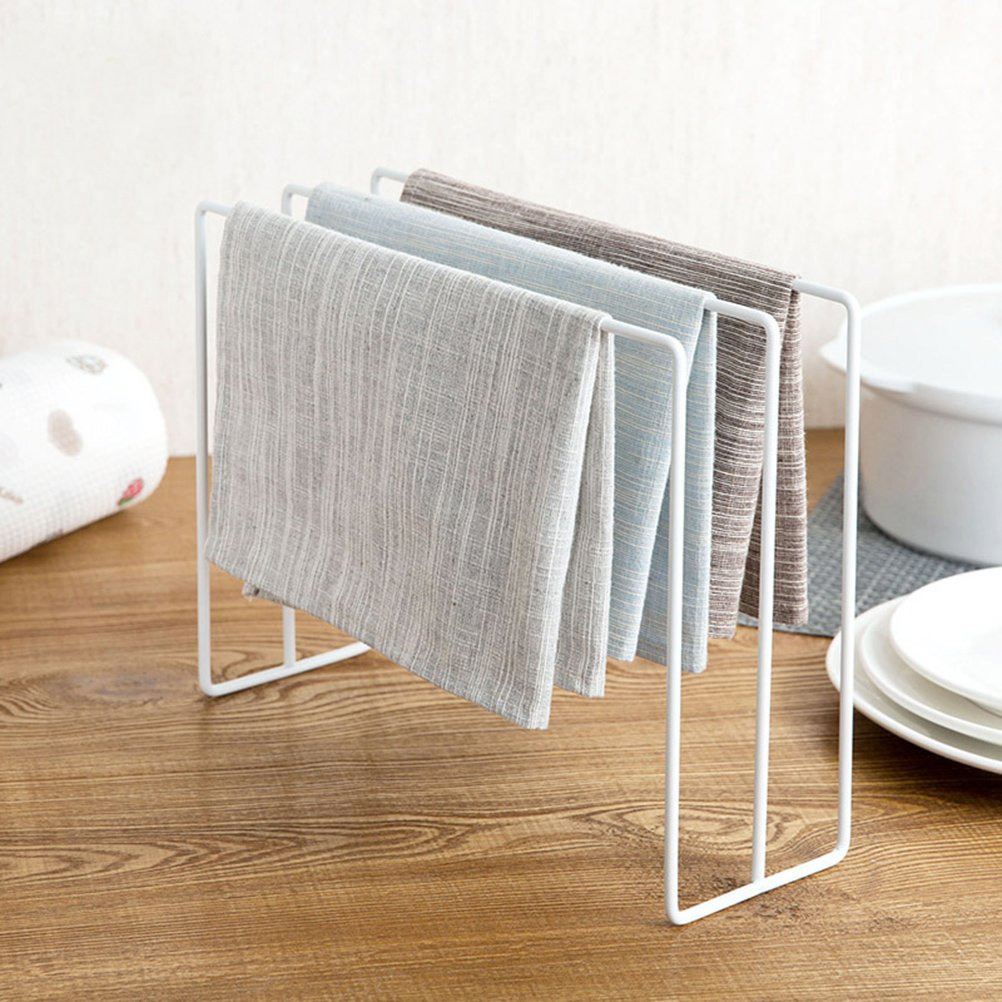 OUNONA Towel Rack Paint Coated Dishcloth Holder Stand Kitchen Cleaning Cloth Organizer (White)