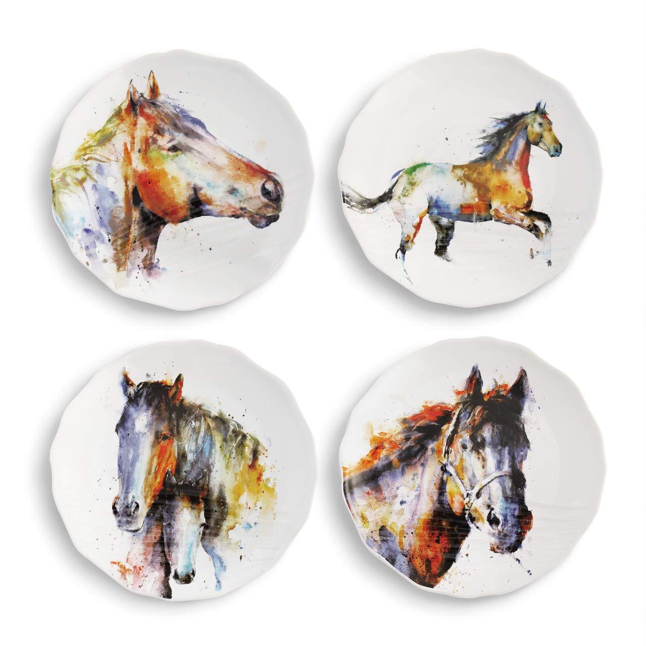 DEMDACO Dean Crouser Equine Watercolor 6 x 6 Ceramic Stoneware Decorative Appetizer Plates Set of 4