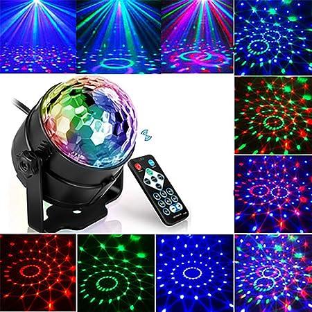 Mini Lumi/ères Sc/ène LED Stroboscope Disco Lights Ball Boule Cristal Son Activ/é T/él/écommande Atmosph/ère Ampoule Boule Rotative Lumi/ères Halloween /Éclairage No/ël Mariage Show Pub