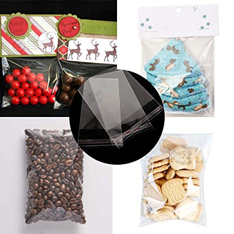 VIPITH 100 Pcs 4x6 Inches Clear Resealable Cello Cellophane Bags with Adhesive Closure for Bakery, Candle, Soap, Cookie, Candies, Dessert Poly Bags