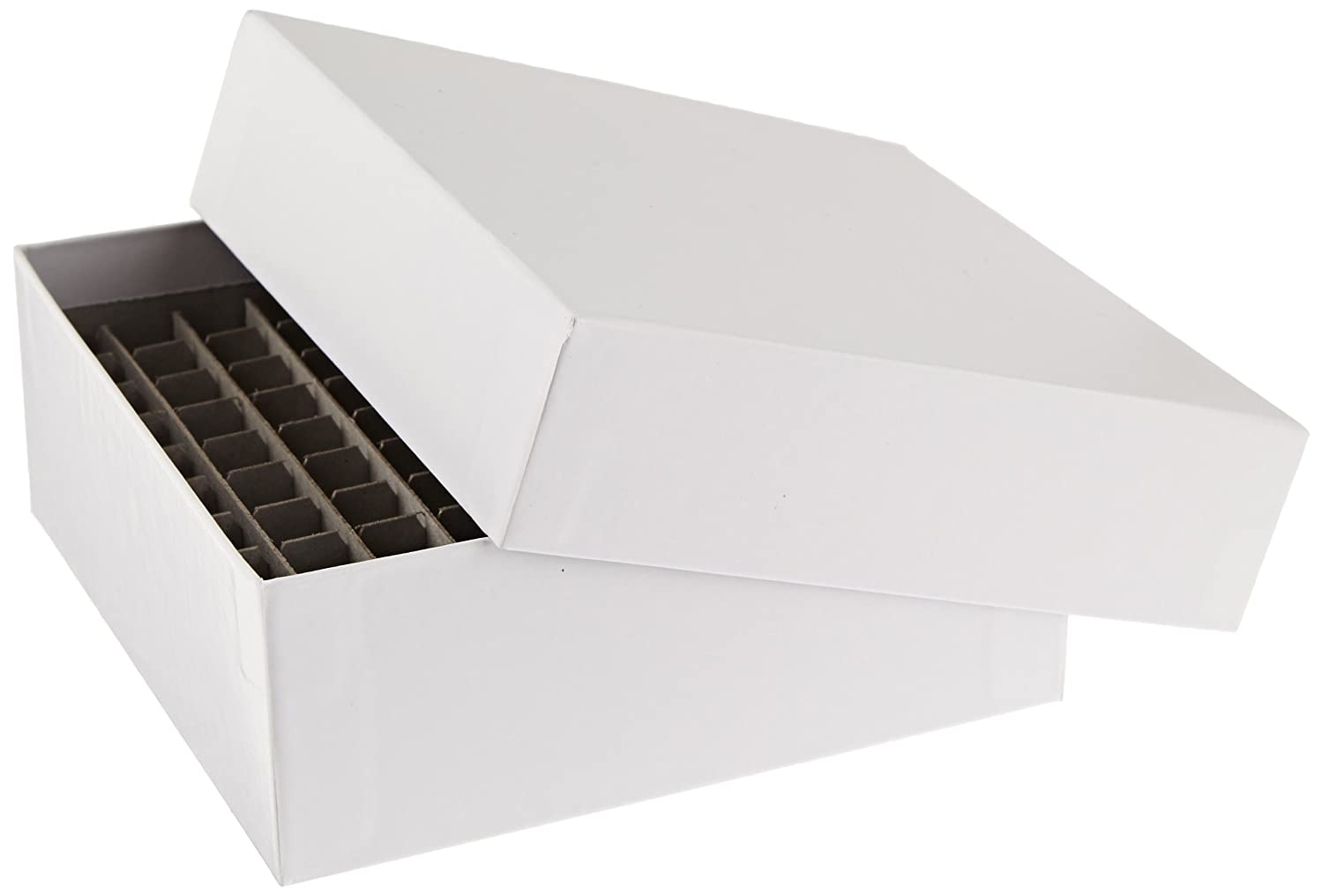 """Alkali Scientific SB2CC-100 White 2"""" Cardboard Freezer Box with 100-Cell Divider, 5-1/4"""" Length x 5-1/4"""" Width x 2"""" Height (10 boxes/pk)"""