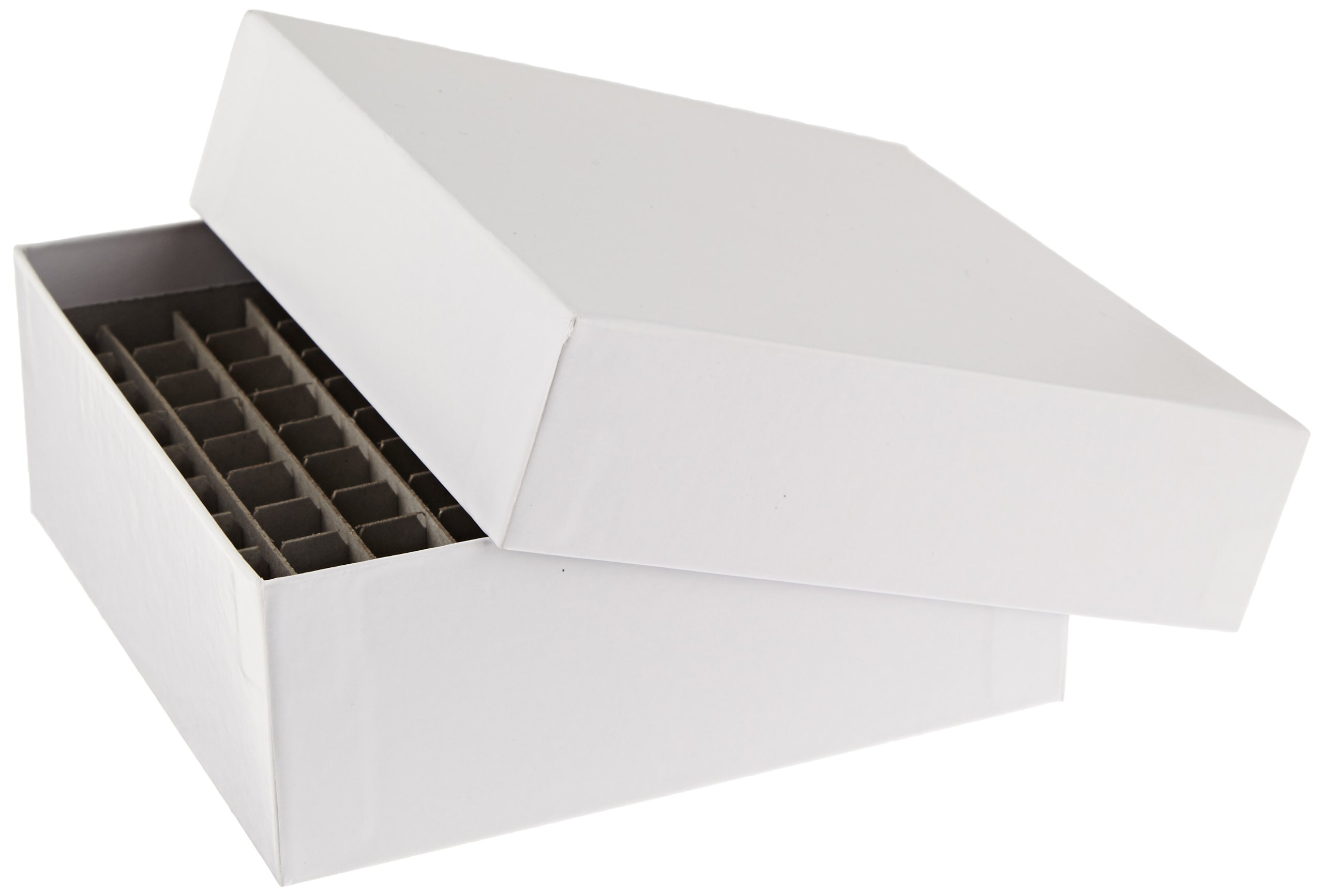 Alkali Scientific SB2CC-100 White 2'' Cardboard Freezer Box with 100-Cell Divider, 5-1/4'' Length x 5-1/4'' Width x 2'' Height (10 boxes/pk)