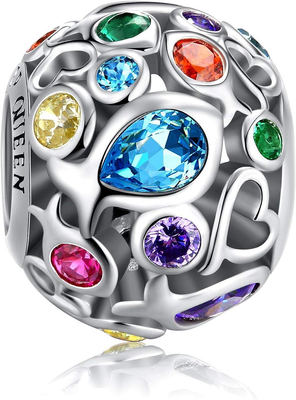 Forever Queen Abalorios para Mujer Charms Plata de Ley 925 con Circonita cúbica Colorido Arco Iris de Verano Compatible con Pulsera