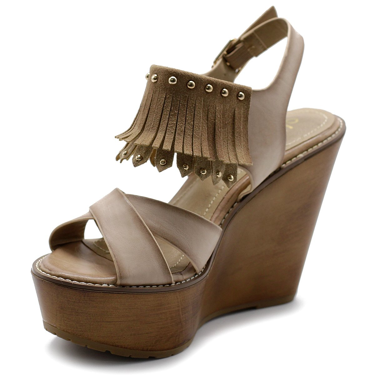 Ollio Womens Sandal Shoe Burnish Vintage Faded Fringe Wedge Heel Sandal Womens B01CPOAN78 Parent 39a82a
