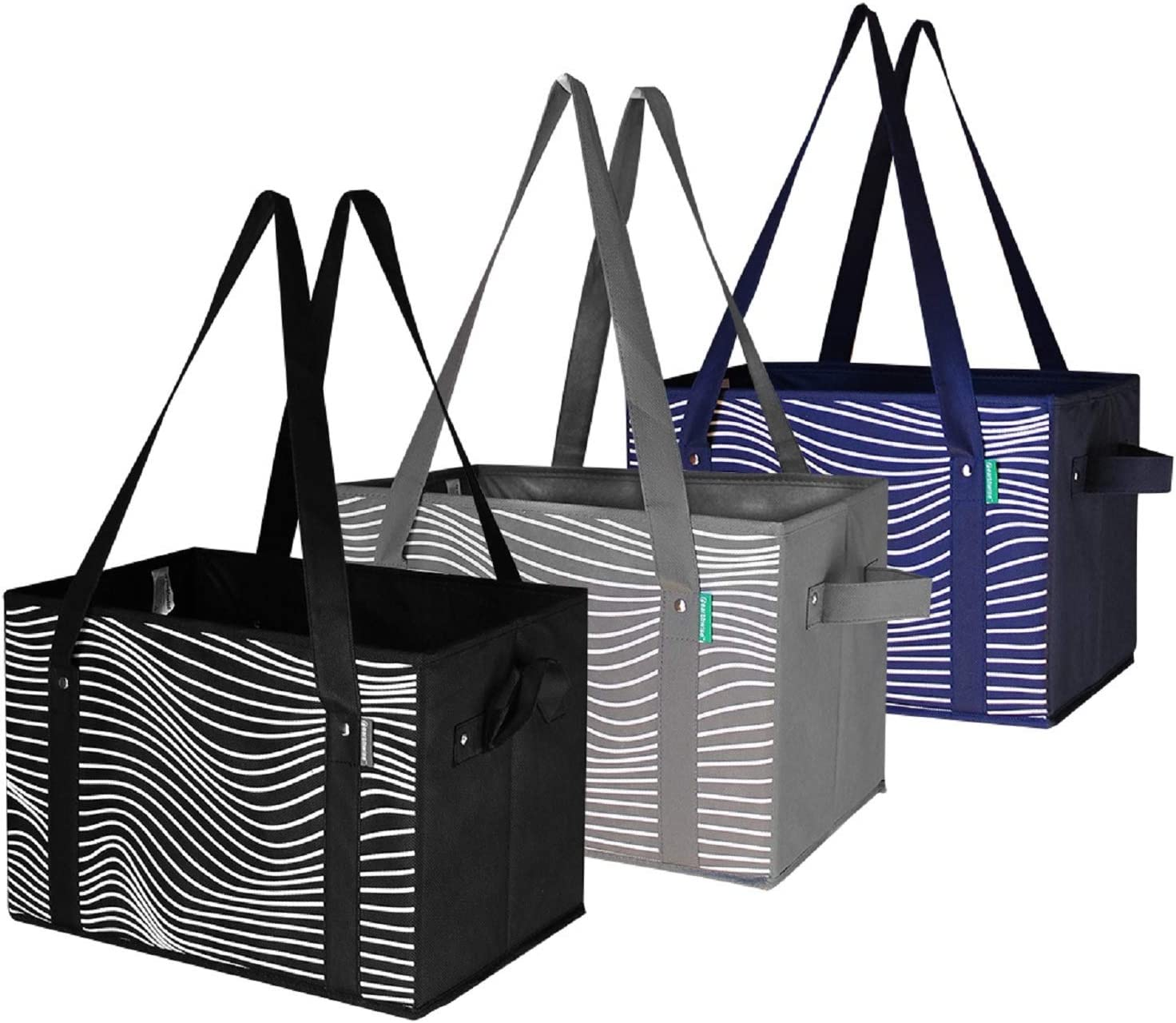 Reusable Grocery Bags Set Shopping Box with Reinforced Bottom Heavy Duty Premium Collapsible Foldable with Long Handles Storage Boxes Eco Friendly Bins Cubes (Set of 3) (Black/Grey/Navy)