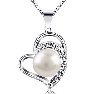 B.Catcher Kette Perle Damen Herz Halskette 925 Sterling Silber Anhänger Schmuck  45CM Kettenlänge Geschenk für Damen  Amazon.de  Schmuck 357020602e