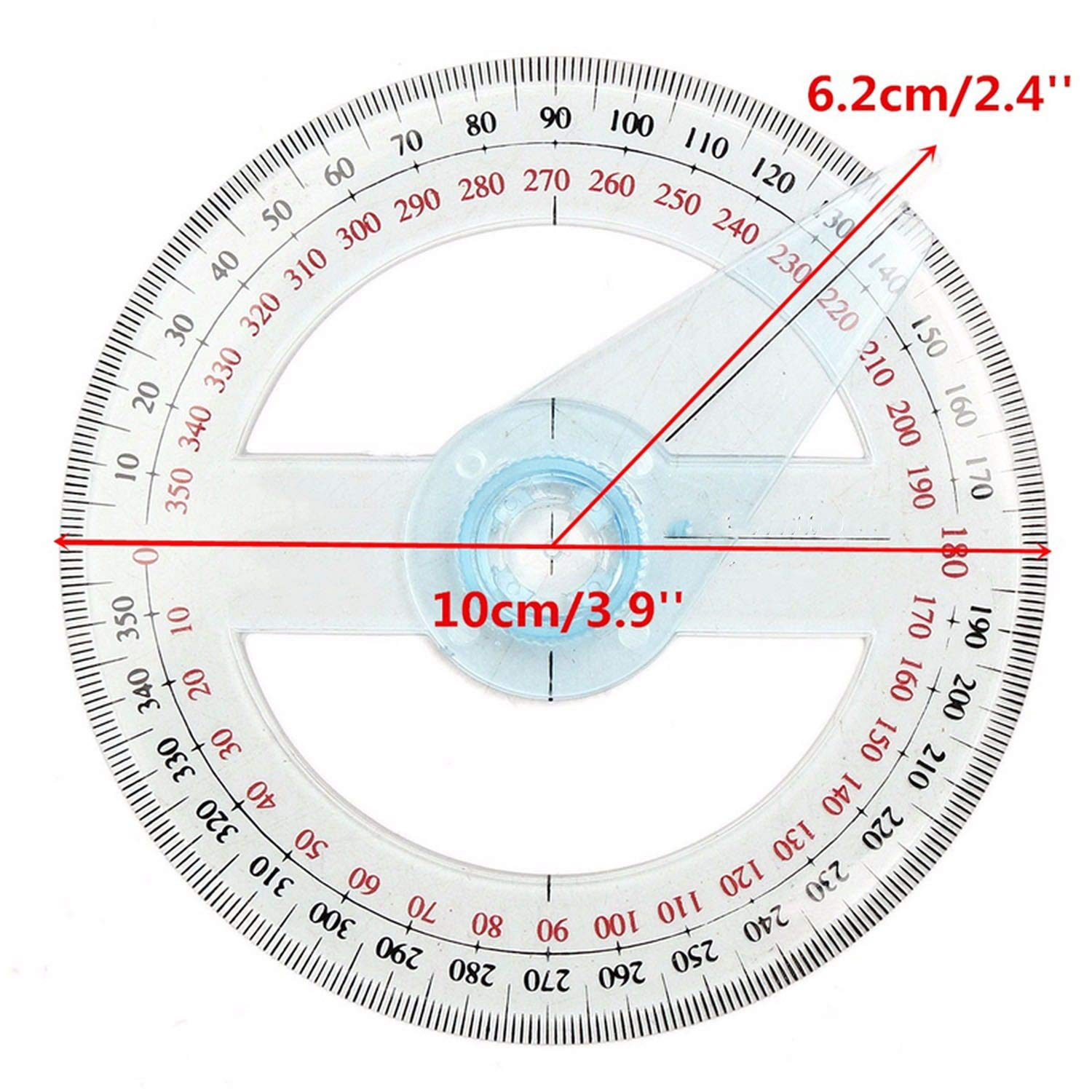 Portable Diameter of 10cm Plastic 360 Degree Pointer Protractor Ruler Angle Swing Arm for School Office Supplies,1 Pc by lucky-eye (Image #3)