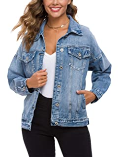 Floerns Womens Ethnic Embroidered Ripped Casual Long Sleeve Denim Jacket