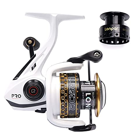 LONPAR Spinning Fishing Reel Double Roller Bearing 9+1 BB Lightweight  Smooth Drag up to 33 Lbs Two Spools Included Selectable Anti-Reverse  Right/Left