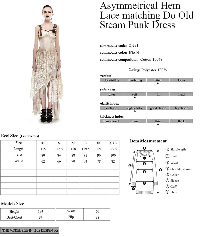 d2c028232b3 Punk Steam Women Long Lace Dress Condole Belt Gothic Summer Dresses Khaki  (M