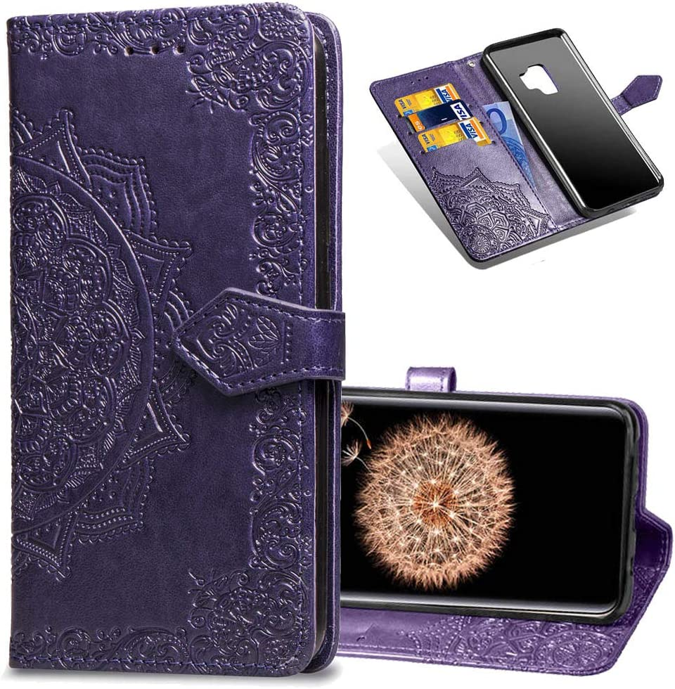 Slim Premium PU Flip Cover Mandala Embossed Full Body Protection with Card Holder Magnetic Closure for Samsung Galaxy S9 COTDINFORCA Samsung S9 Wallet Case Black 2018 SD Mandala