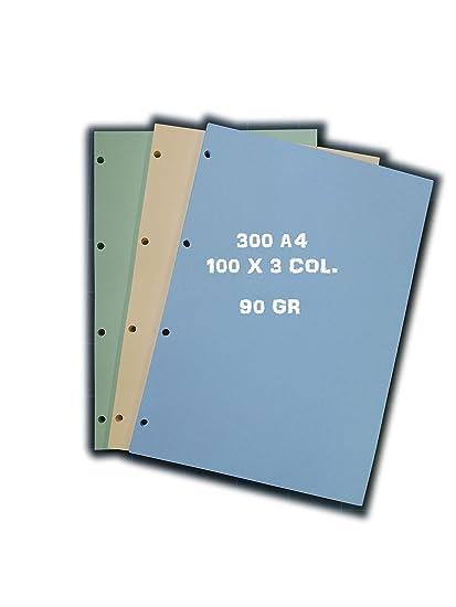 300 hojas de papel A4 con 4 agujeros archivio (100 hojas x 3 ...