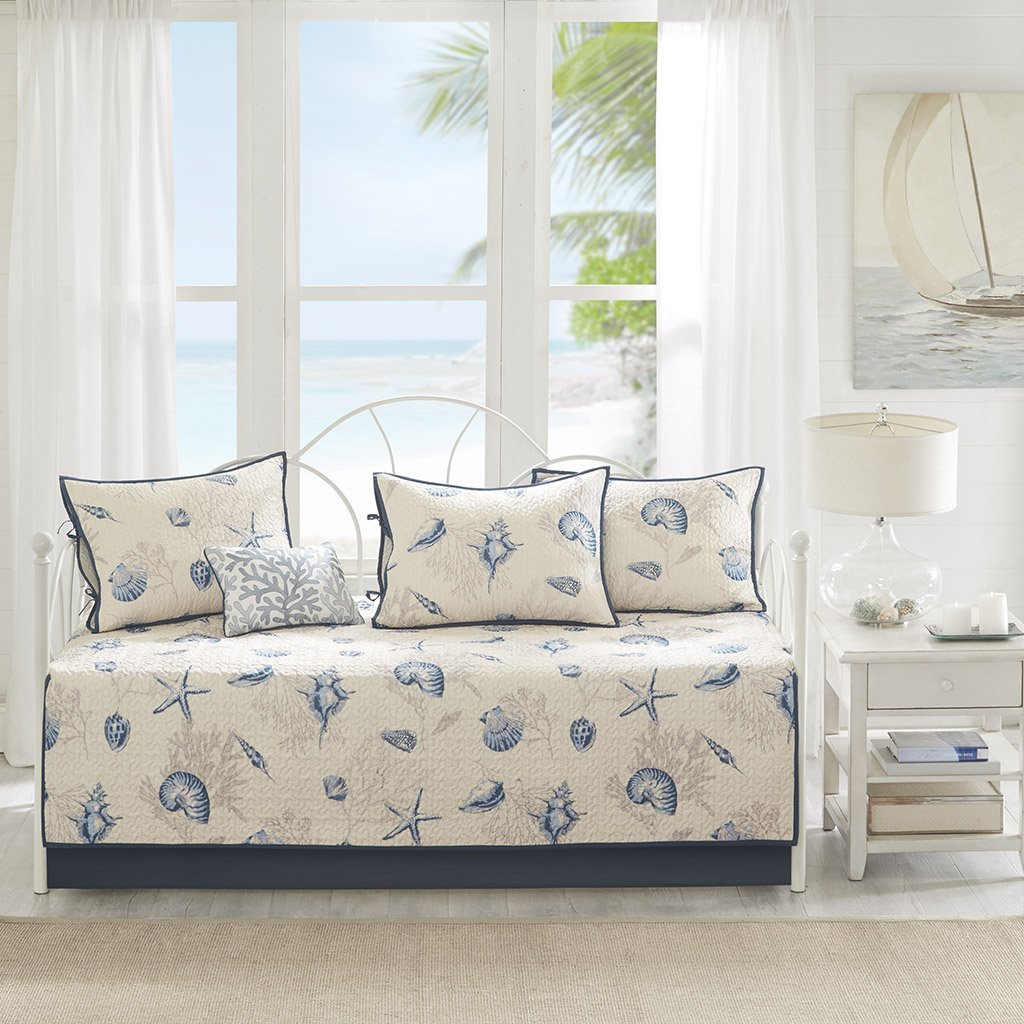 Madison Park Bayside 6 Piece Reversible Daybed Cover Set Blue Daybed